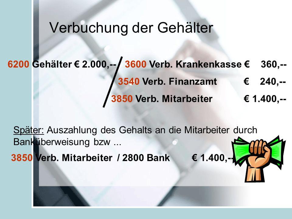 Verbuchung der Gehälter 6200 Gehälter € 2.000,--3600 Verb.