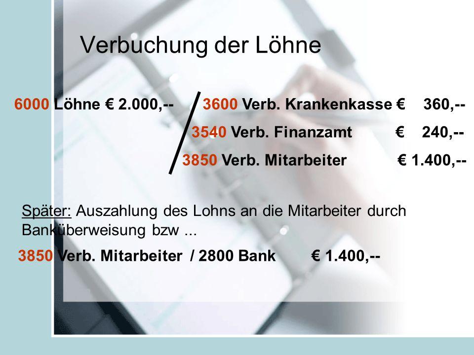 Verbuchung der Löhne 6000 Löhne € 2.000,--3600 Verb.