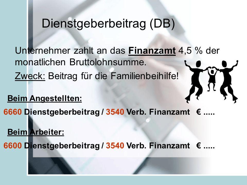 Dienstgeberbeitrag (DB) Unternehmer zahlt an das Finanzamt 4,5 % der monatlichen Bruttolohnsumme.
