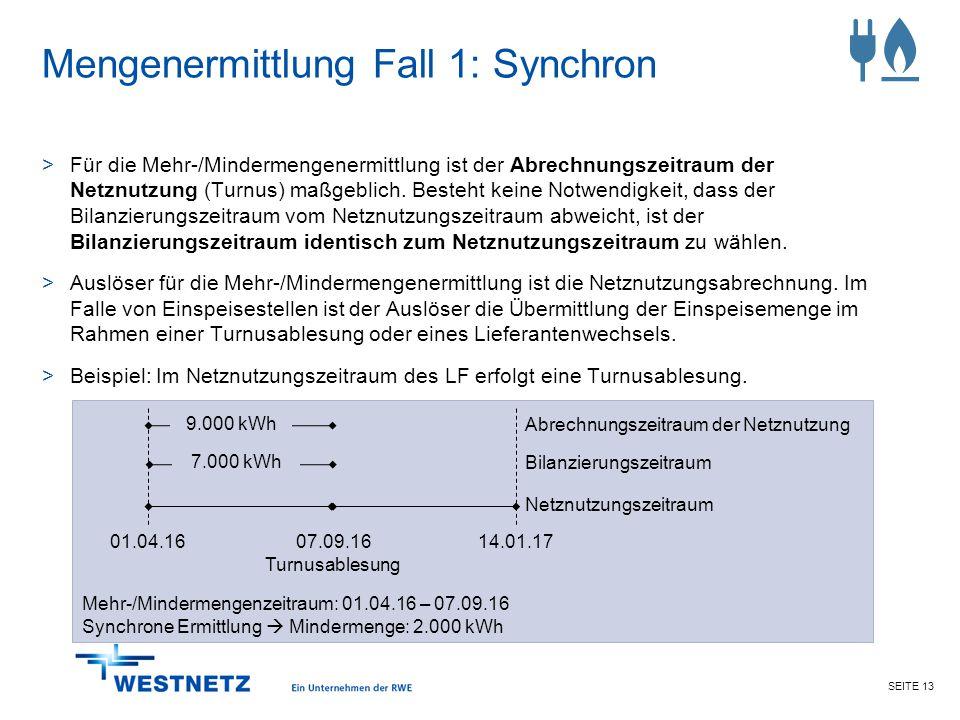 SEITE 13 Mengenermittlung Fall 1: Synchron >Für die Mehr-/Mindermengenermittlung ist der Abrechnungszeitraum der Netznutzung (Turnus) maßgeblich. Best