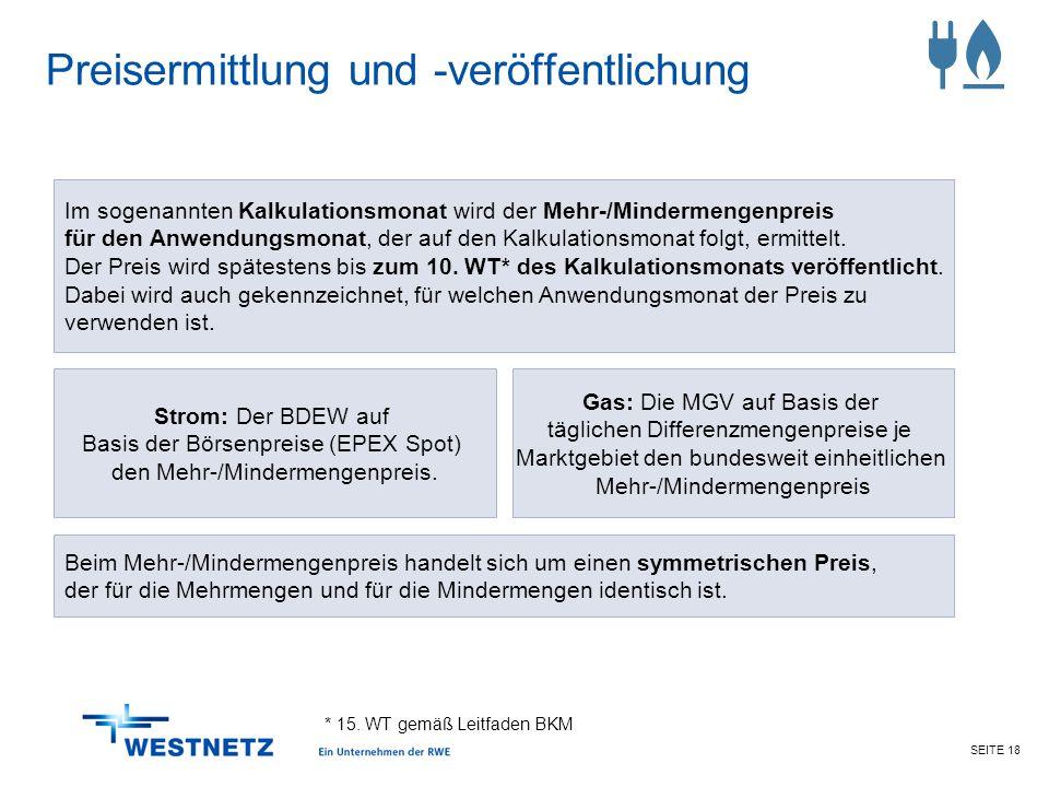 SEITE 18 Preisermittlung und -veröffentlichung * 15. WT gemäß Leitfaden BKM Strom: Der BDEW auf Basis der Börsenpreise (EPEX Spot) den Mehr-/Mindermen