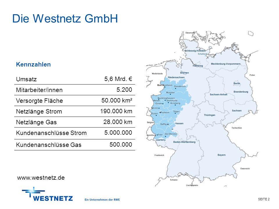 SEITE 2 Die Westnetz GmbH Kennzahlen Umsatz 5,6 Mrd. € Mitarbeiter/innen 5.200 Versorgte Fläche 50.000 km² Netzlänge Strom 190.000 km Netzlänge Gas 28