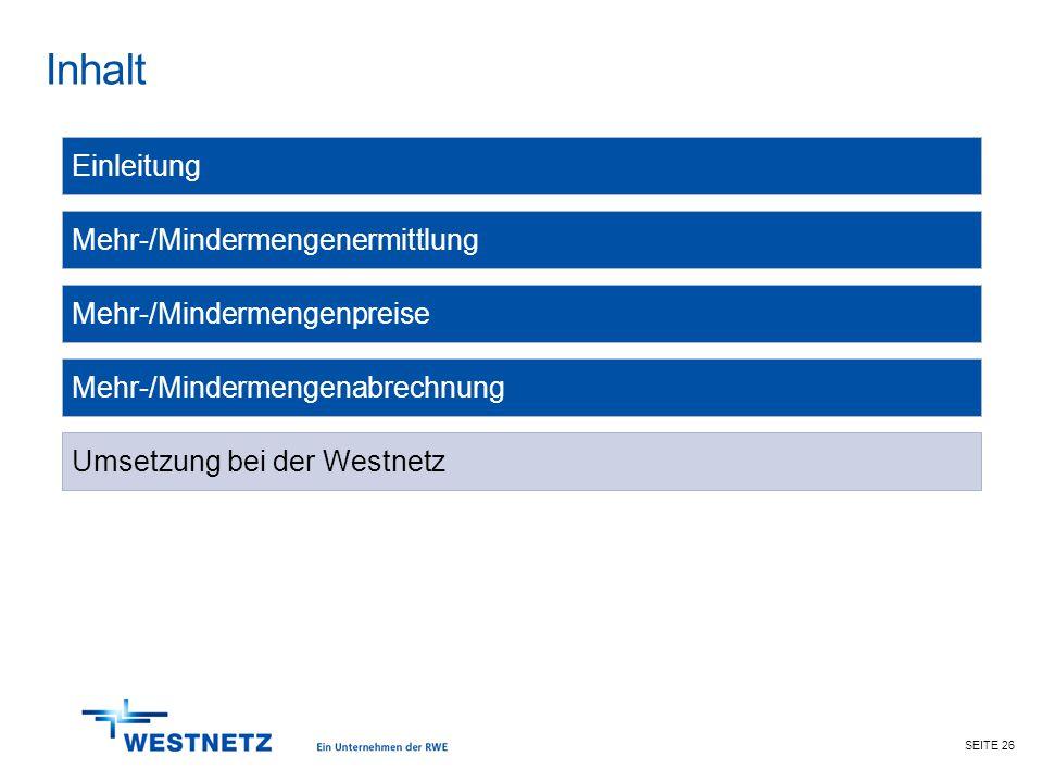 SEITE 26 Inhalt Mehr-/Mindermengenabrechnung Mehr-/Mindermengenermittlung Einleitung Mehr-/Mindermengenpreise Umsetzung bei der Westnetz