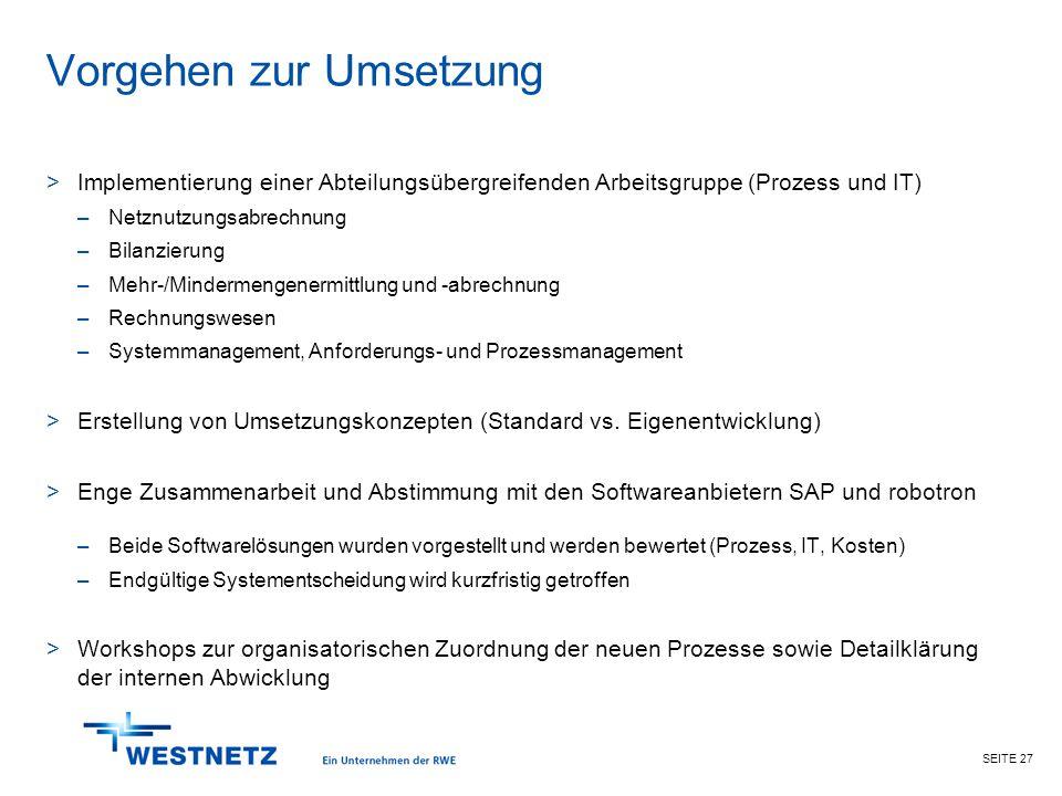 SEITE 27 Vorgehen zur Umsetzung >Implementierung einer Abteilungsübergreifenden Arbeitsgruppe (Prozess und IT) –Netznutzungsabrechnung –Bilanzierung –