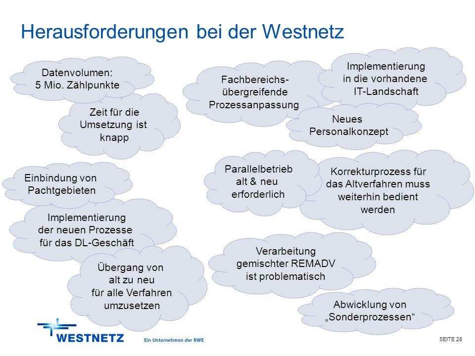 SEITE 28 Herausforderungen bei der Westnetz Fachbereichs- übergreifende Prozessanpassung Zeit für die Umsetzung ist knapp Verarbeitung gemischter REMA