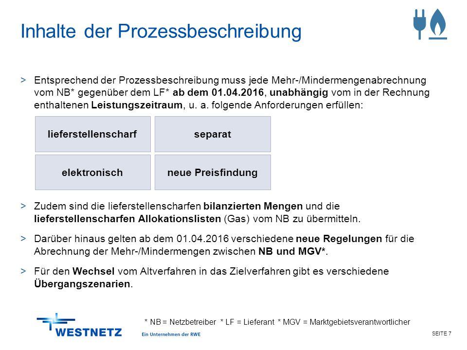 SEITE 7 Inhalte der Prozessbeschreibung >Entsprechend der Prozessbeschreibung muss jede Mehr-/Mindermengenabrechnung vom NB* gegenüber dem LF* ab dem