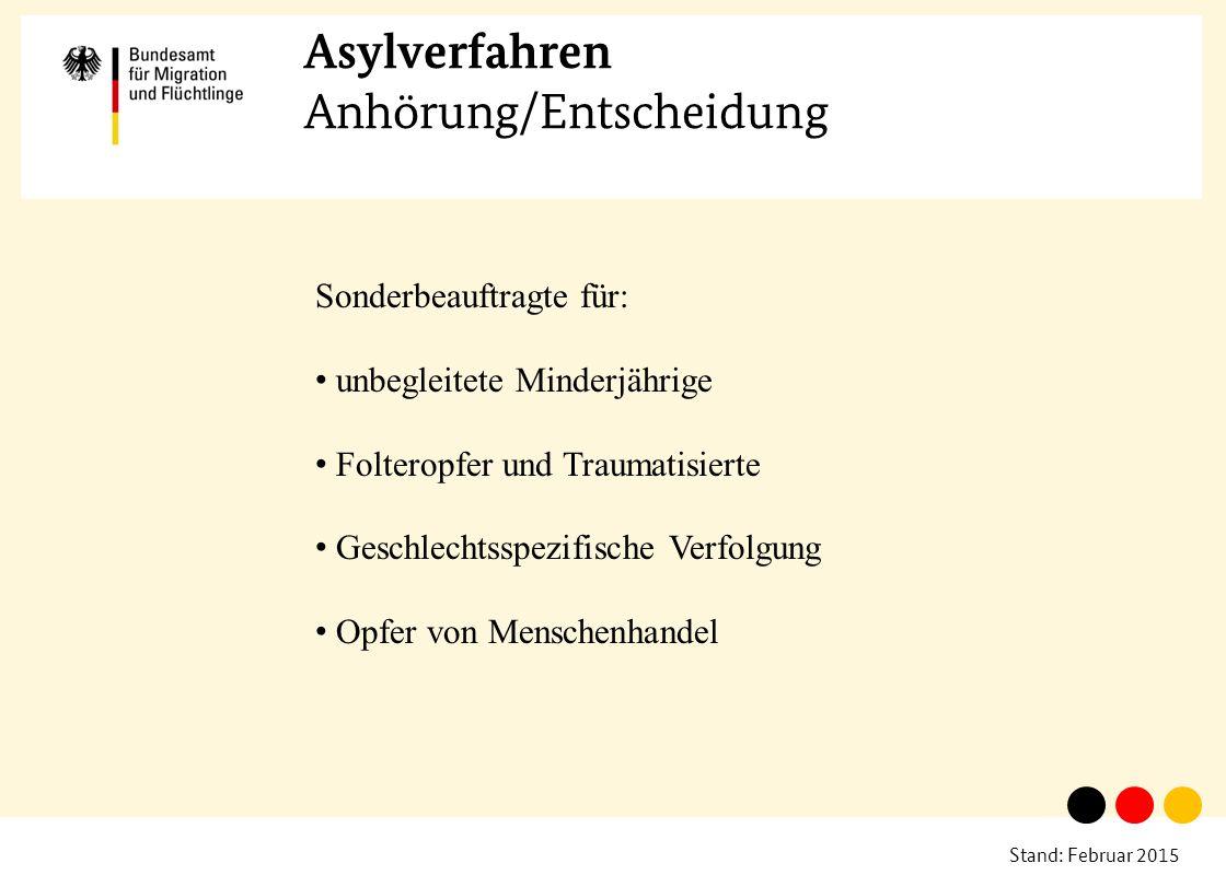 Stand: Februar 2015 Asylverfahren Anhörung/Entscheidung Sonderbeauftragte für: unbegleitete Minderjährige Folteropfer und Traumatisierte Geschlechtssp