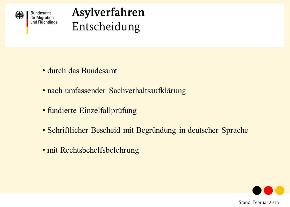 Stand: Februar 2015 Asylverfahren Entscheidung durch das Bundesamt nach umfassender Sachverhaltsaufklärung fundierte Einzelfallprüfung Schriftlicher B
