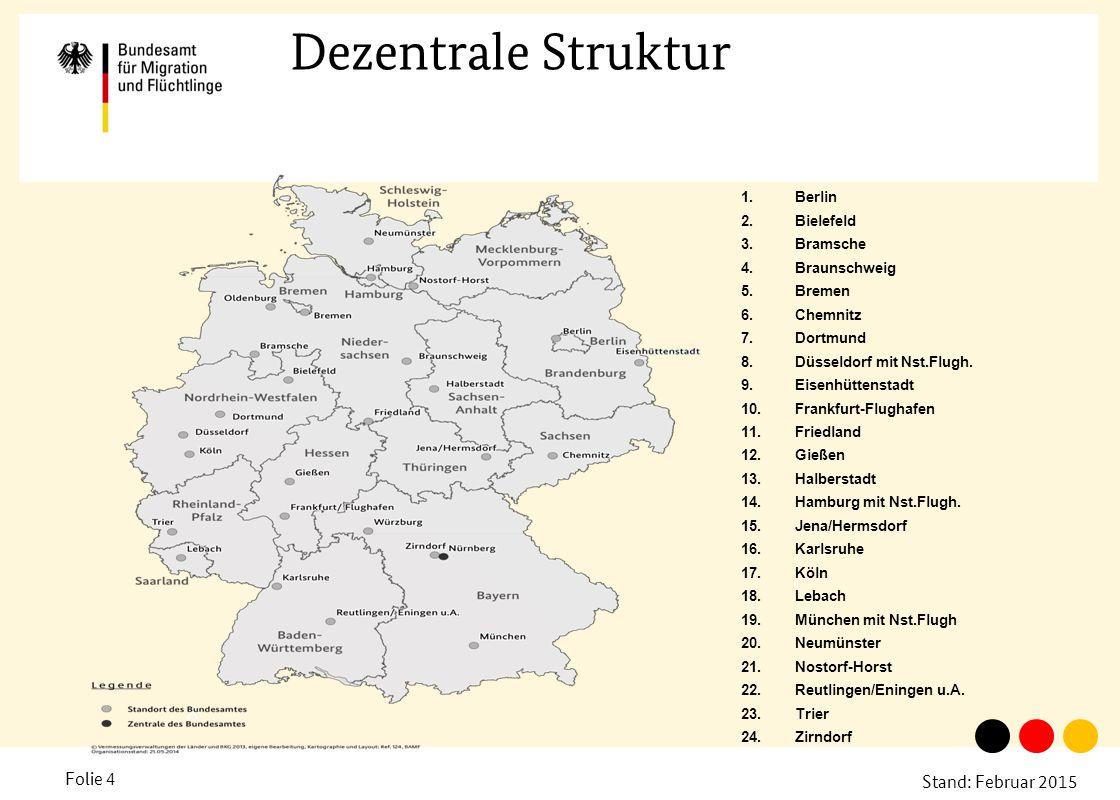 Stand: Februar 2015 Folie 4 Dezentrale Struktur A 1.Berlin 2.Bielefeld 3.Bramsche 4.Braunschweig 5.Bremen 6.Chemnitz 7.Dortmund 8.Düsseldorf mit Nst.F