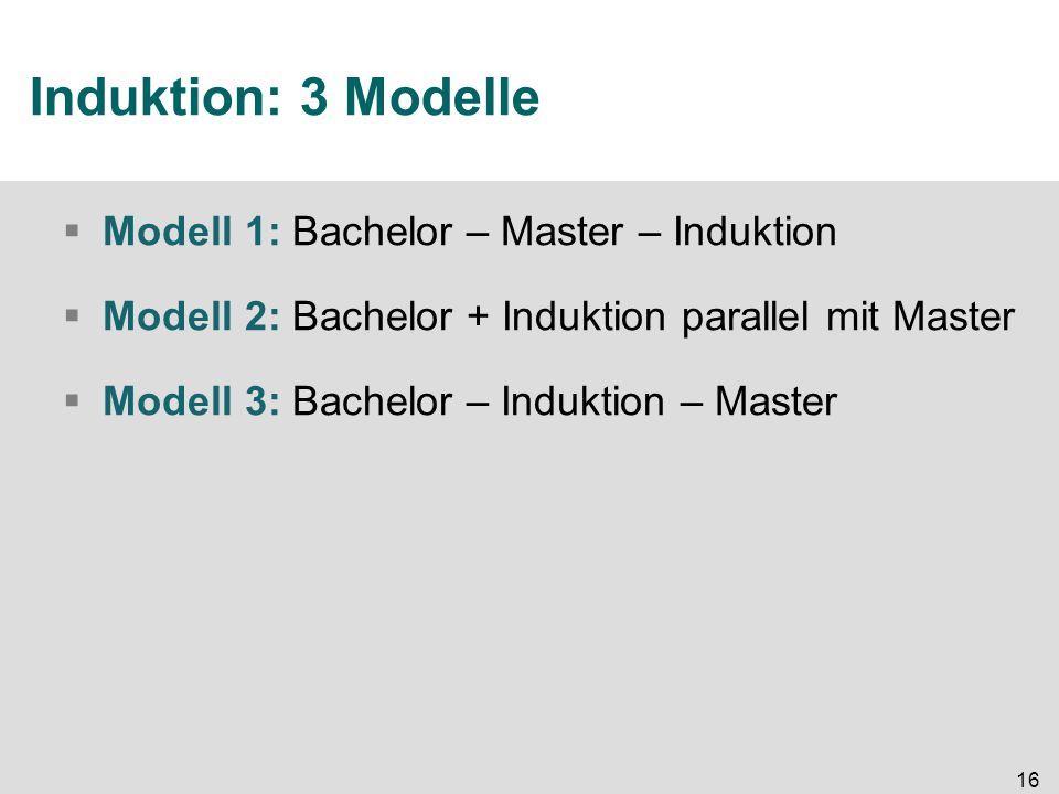 16 Induktion: 3 Modelle  Modell 1: Bachelor – Master – Induktion  Modell 2: Bachelor + Induktion parallel mit Master  Modell 3: Bachelor – Induktion – Master