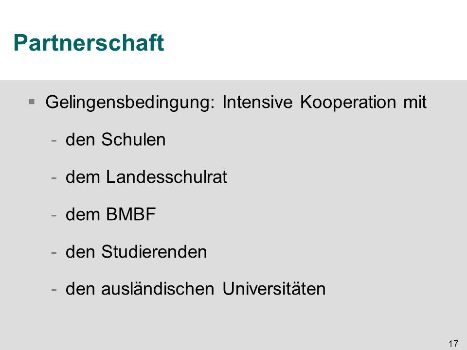 17 Partnerschaft  Gelingensbedingung: Intensive Kooperation mit -den Schulen -dem Landesschulrat -dem BMBF -den Studierenden -den ausländischen Unive