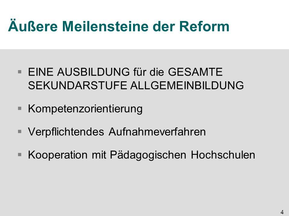 4 Äußere Meilensteine der Reform  EINE AUSBILDUNG für die GESAMTE SEKUNDARSTUFE ALLGEMEINBILDUNG  Kompetenzorientierung  Verpflichtendes Aufnahmeverfahren  Kooperation mit Pädagogischen Hochschulen