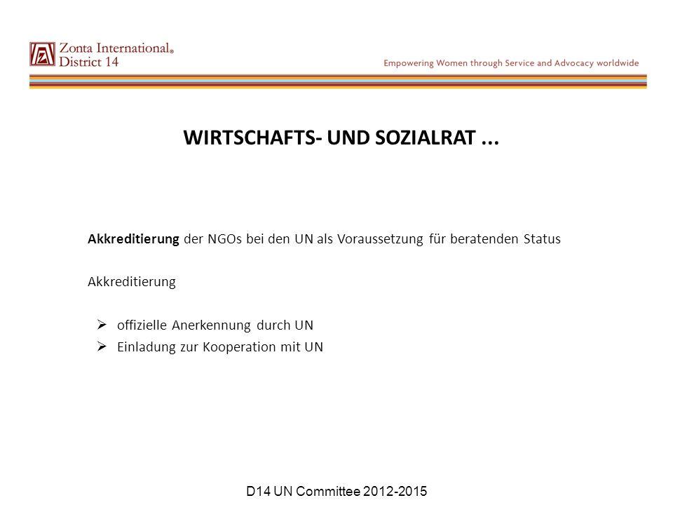 WIRTSCHAFTS- UND SOZIALRAT... Akkreditierung der NGOs bei den UN als Voraussetzung für beratenden Status Akkreditierung  offizielle Anerkennung durch
