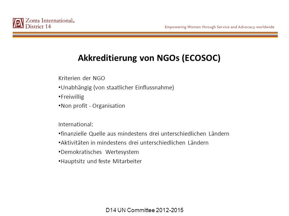 Akkreditierung von NGOs (ECOSOC) Kriterien der NGO Unabhängig (von staatlicher Einflussnahme) Freiwillig Non profit - Organisation International: fina