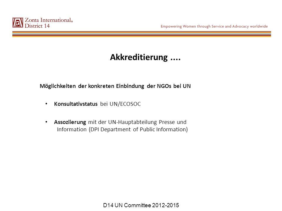 Akkreditierung.... Möglichkeiten der konkreten Einbindung der NGOs bei UN Konsultativstatus bei UN/ECOSOC Assoziierung mit der UN-Hauptabteilung Press