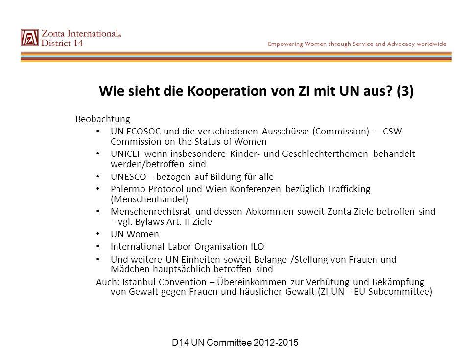 Wie sieht die Kooperation von ZI mit UN aus? (3) Beobachtung UN ECOSOC und die verschiedenen Ausschüsse (Commission) – CSW Commission on the Status of