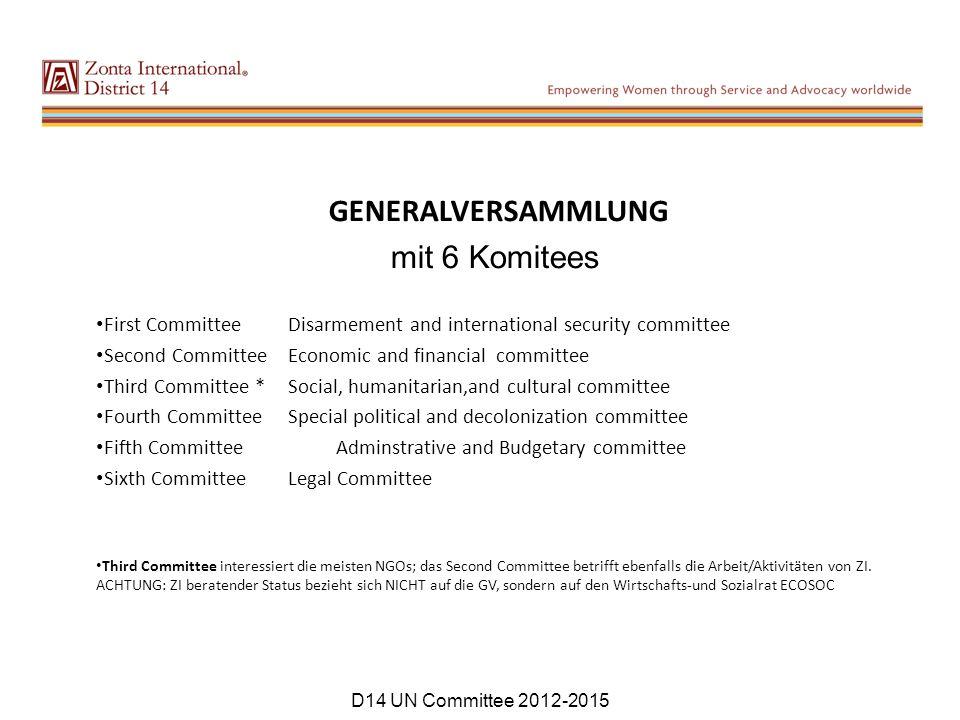 GENERALVERSAMMLUNG mit 6 Komitees First Committee Disarmement and international security committee Second Committee Economic and financial committee T