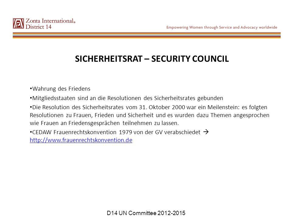 SICHERHEITSRAT – SECURITY COUNCIL Wahrung des Friedens Mitgliedsstaaten sind an die Resolutionen des Sicherheitsrates gebunden Die Resolution des Sicherheitsrates vom 31.