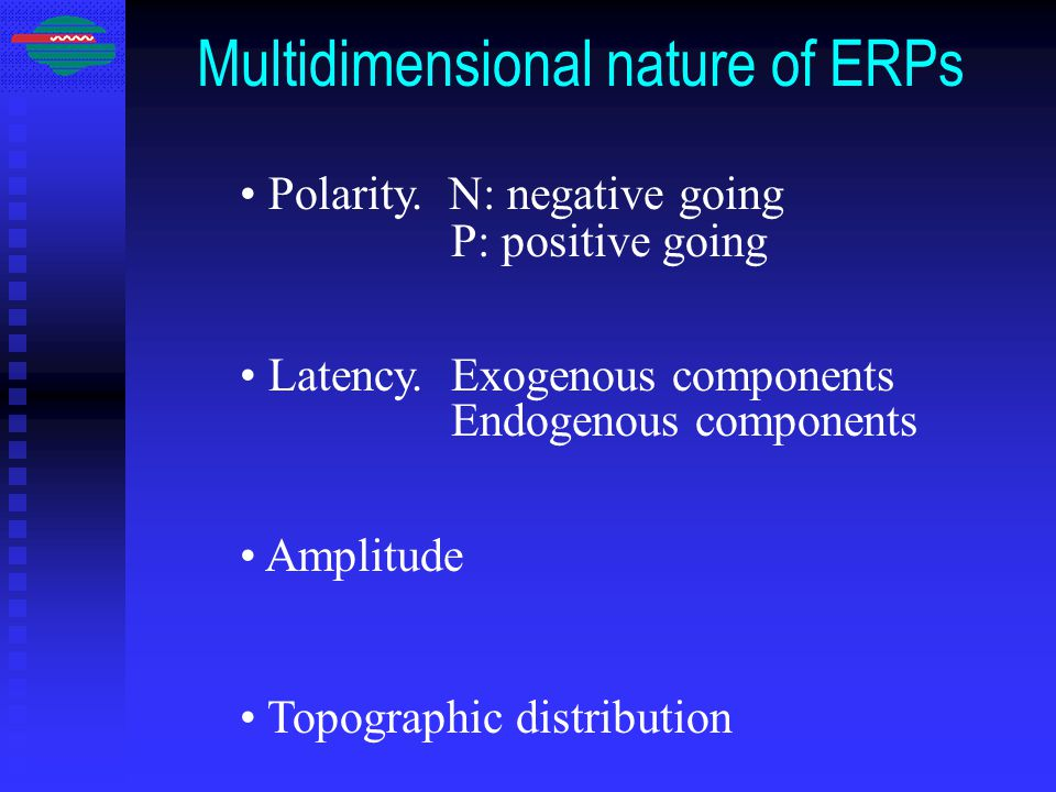Multidimensional nature of ERPs Polarity. N: negative going P: positive going Latency.