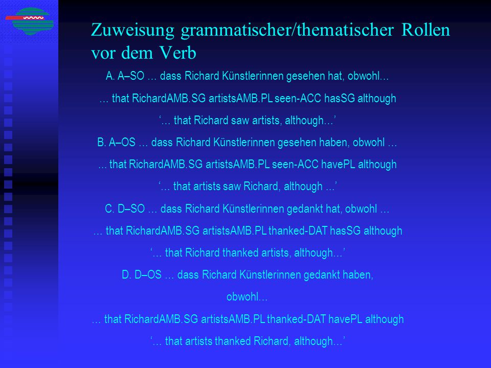 Zuweisung grammatischer/thematischer Rollen vor dem Verb A.