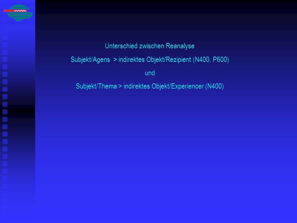 Unterschied zwischen Reanalyse Subjekt/Agens > indirektes Objekt/Rezipient (N400, P600) und Subjekt/Thema > indirektes Objekt/Experiencer (N400)
