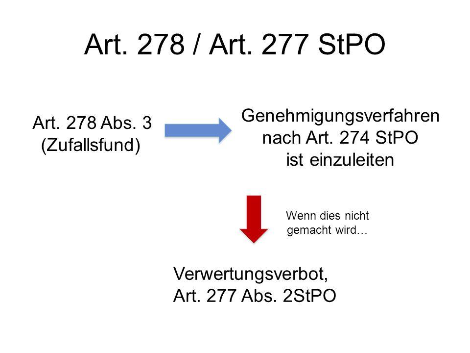 Art. 278 / Art. 277 StPO Genehmigungsverfahren nach Art. 274 StPO ist einzuleiten Wenn dies nicht gemacht wird… Verwertungsverbot, Art. 277 Abs. 2StPO