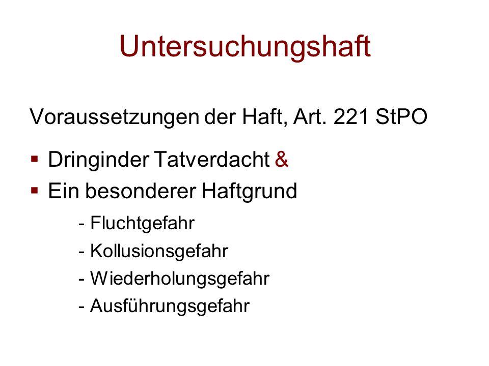 Untersuchungshaft Voraussetzungen der Haft, Art. 221 StPO  Dringinder Tatverdacht &  Ein besonderer Haftgrund - Fluchtgefahr - Kollusionsgefahr - Wi