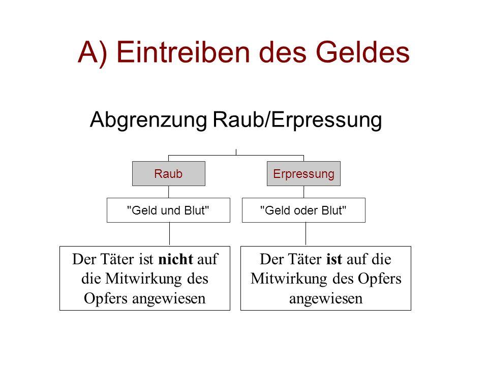 Aufbau der Lösung  A) Eintreiben des Geldes (Fr.