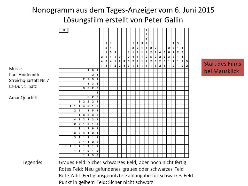 Nonogramm aus dem Tages-Anzeiger vom 6.