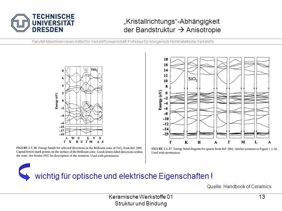 Keramische Werkstoffe 01 Struktur und Bindung 13 Fakultät Maschinenwesen Institut für Werkstoffwissenschaft, Professur für Anorganisch-Nichtmetallisch