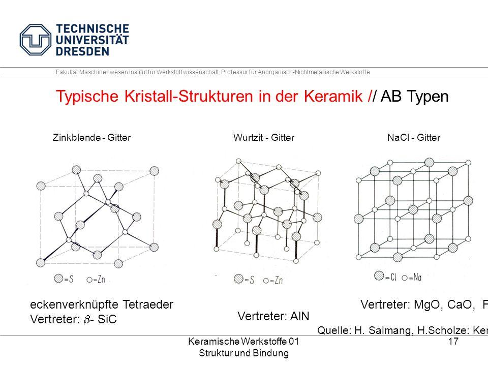 Keramische Werkstoffe 01 Struktur und Bindung 17 Fakultät Maschinenwesen Institut für Werkstoffwissenschaft, Professur für Anorganisch-Nichtmetallisch