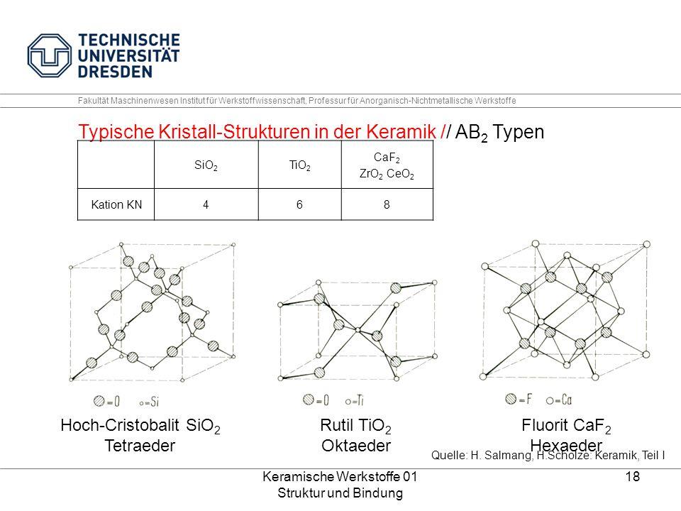 Keramische Werkstoffe 01 Struktur und Bindung 18 Fakultät Maschinenwesen Institut für Werkstoffwissenschaft, Professur für Anorganisch-Nichtmetallisch