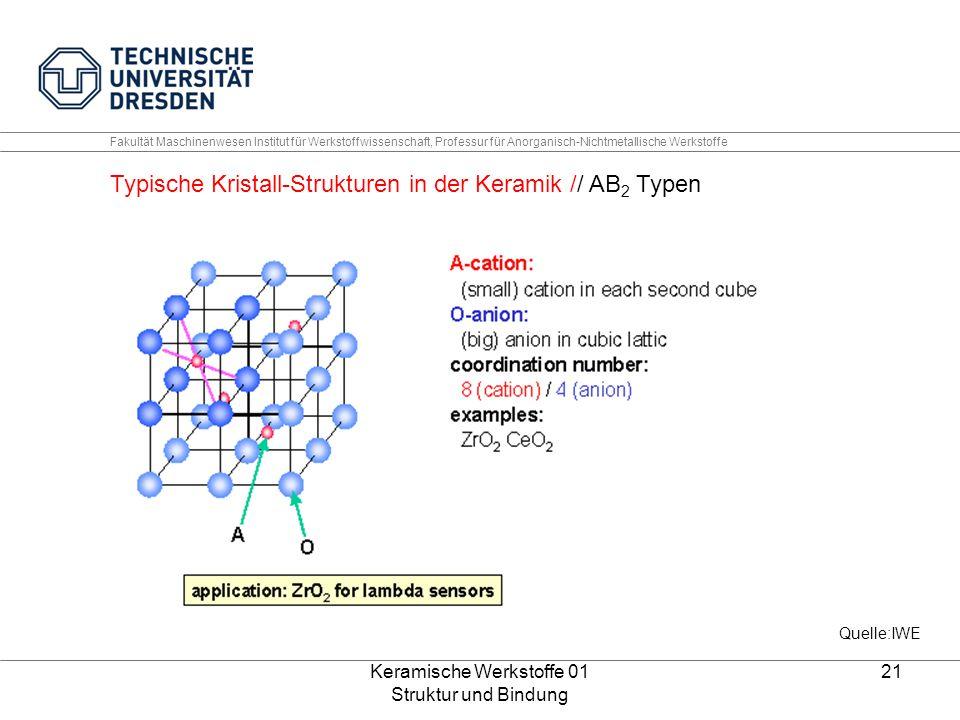 Keramische Werkstoffe 01 Struktur und Bindung 21 Fakultät Maschinenwesen Institut für Werkstoffwissenschaft, Professur für Anorganisch-Nichtmetallisch