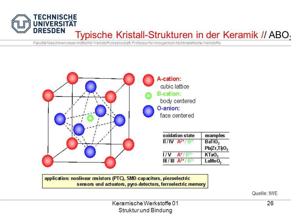 Keramische Werkstoffe 01 Struktur und Bindung 26 Fakultät Maschinenwesen Institut für Werkstoffwissenschaft, Professur für Anorganisch-Nichtmetallisch