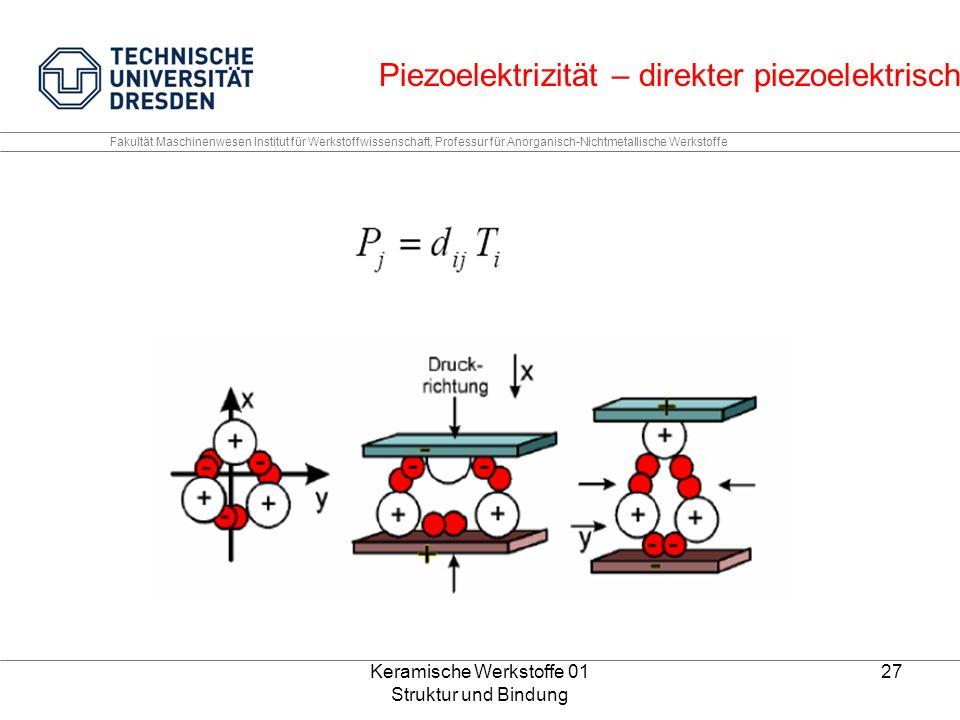 Keramische Werkstoffe 01 Struktur und Bindung 27 Fakultät Maschinenwesen Institut für Werkstoffwissenschaft, Professur für Anorganisch-Nichtmetallisch