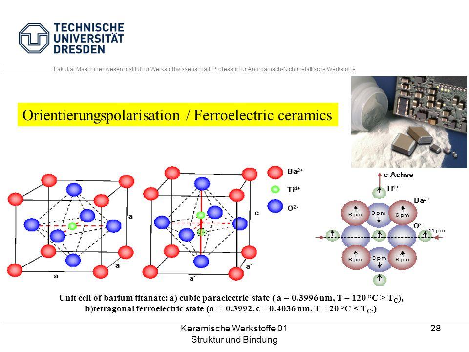 Keramische Werkstoffe 01 Struktur und Bindung 28 Unit cell of barium titanate: a) cubic paraelectric state ( a = 0.3996 nm, T = 120 °C > T C ), b)tetr