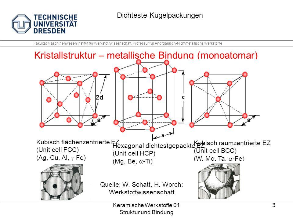 Keramische Werkstoffe 01 Struktur und Bindung 4 Fakultät Maschinenwesen Institut für Werkstoffwissenschaft, Professur für Anorganisch-Nichtmetallische Werkstoffe Kristallstruktur – ionische Bindung Zwei ineinander gestellte FCC Teilgitter (polyatomar) Quelle: IWE Die 8-ter Regel: Gilt für alle Bindungstypen!