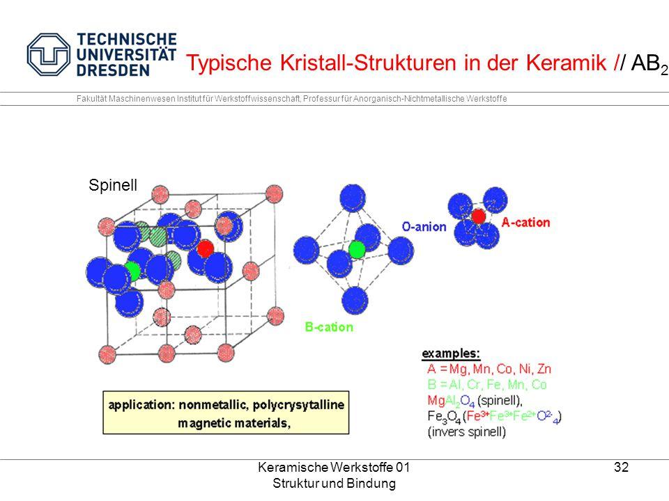 Keramische Werkstoffe 01 Struktur und Bindung 32 Fakultät Maschinenwesen Institut für Werkstoffwissenschaft, Professur für Anorganisch-Nichtmetallisch