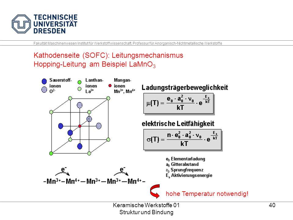 Keramische Werkstoffe 01 Struktur und Bindung 40 Fakultät Maschinenwesen Institut für Werkstoffwissenschaft, Professur für Anorganisch-Nichtmetallisch