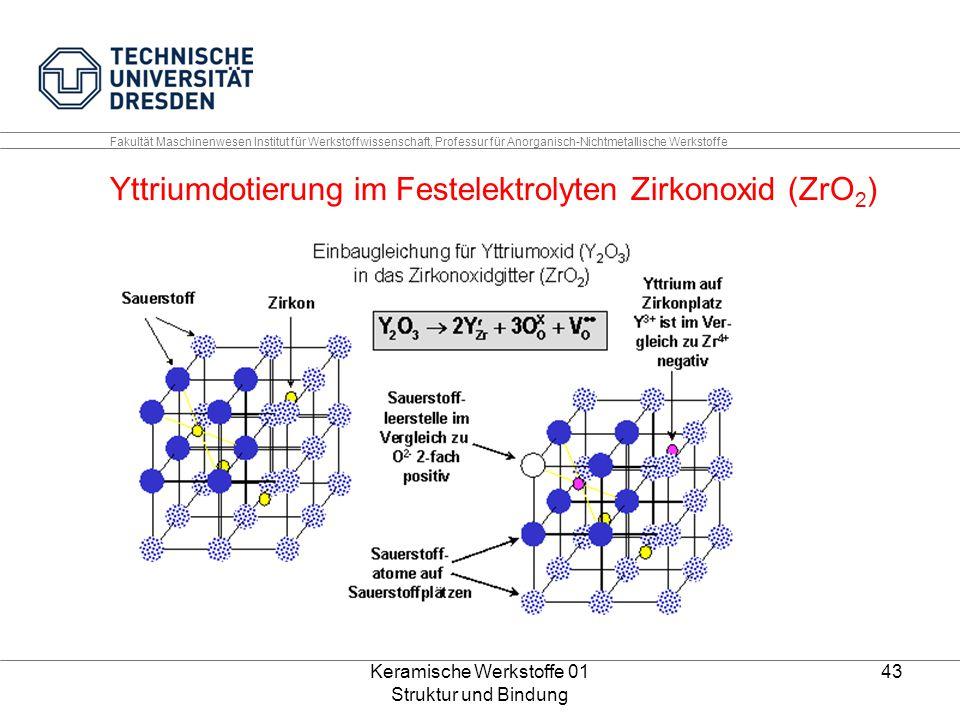Keramische Werkstoffe 01 Struktur und Bindung 43 Fakultät Maschinenwesen Institut für Werkstoffwissenschaft, Professur für Anorganisch-Nichtmetallisch