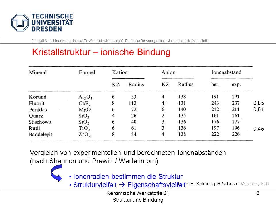 Keramische Werkstoffe 01 Struktur und Bindung 7 Fakultät Maschinenwesen Institut für Werkstoffwissenschaft, Professur für Anorganisch-Nichtmetallische Werkstoffe Kristallstruktur – ionische Bindung (physikalische Erklärung) Coulomb, Born Meyer, van der Waals, Nullpunktsenergie U = Gitterenergie [J/mol] z = Ionenladung N 0 =Avogadro ρ = Abstoßungskoeffizient CN = Koordinierungszahl ν = Schwingungsfrequenz E = P an + P ab r 0 - Gleichgewichtsabstand Quelle: W.