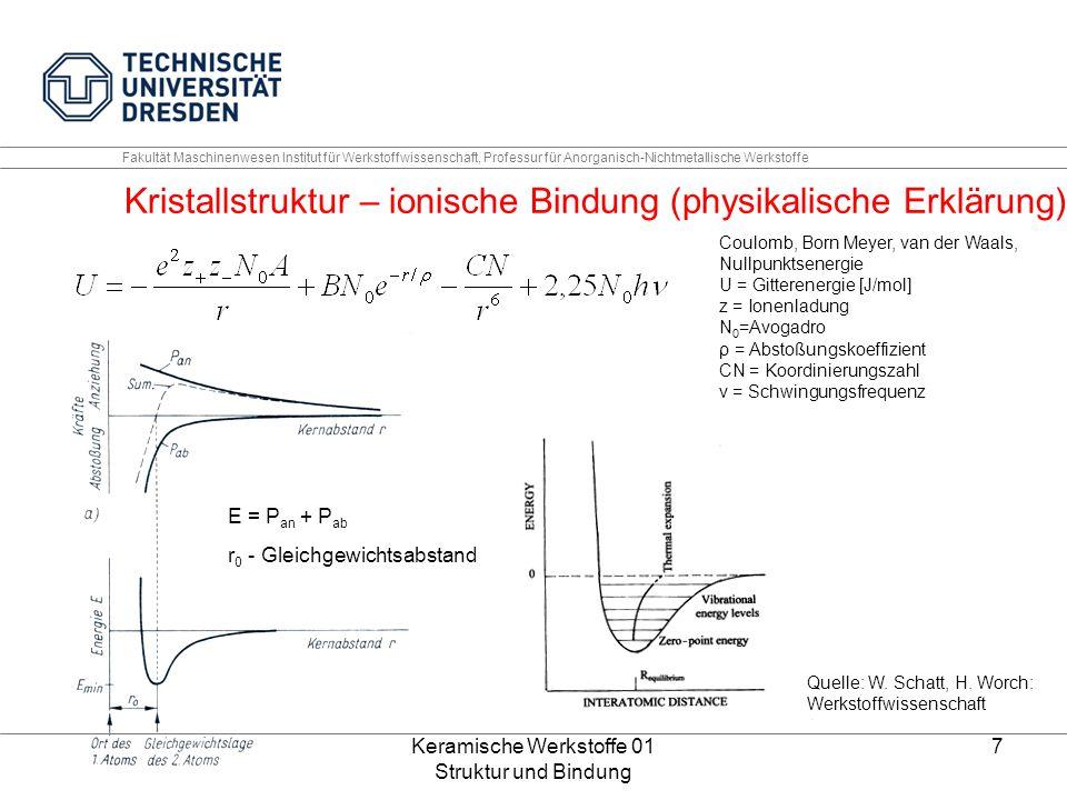 Keramische Werkstoffe 01 Struktur und Bindung 7 Fakultät Maschinenwesen Institut für Werkstoffwissenschaft, Professur für Anorganisch-Nichtmetallische