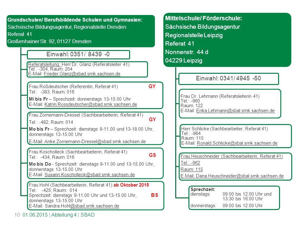 Grundschulen/ Berufsbildende Schulen und Gymnasien: Sächsische Bildungsagentur, Regionalstelle Dresden Referat 41 Großenhainer Str.