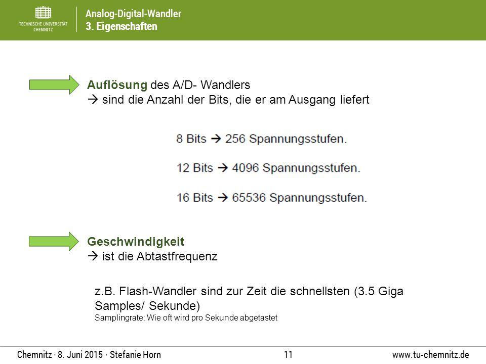 Analog-Digital-Wandler 3. Eigenschaften www.tu-chemnitz.de 11 Chemnitz ∙ 8. Juni 2015 ∙ Stefanie Horn Auflösung des A/D- Wandlers  sind die Anzahl de