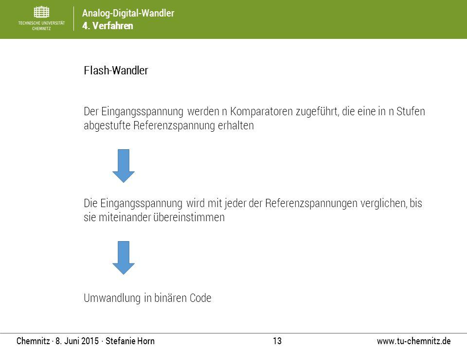 Analog-Digital-Wandler 4. Verfahren www.tu-chemnitz.de 13 Chemnitz ∙ 8. Juni 2015 ∙ Stefanie Horn Flash-Wandler Der Eingangsspannung werden n Komparat