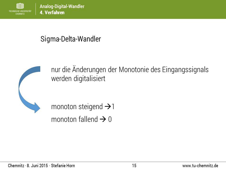 Analog-Digital-Wandler 4. Verfahren www.tu-chemnitz.de 15 Chemnitz ∙ 8. Juni 2015 ∙ Stefanie Horn Sigma-Delta-Wandler nur die Änderungen der Monotonie
