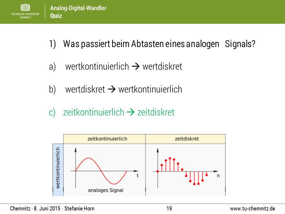 Analog-Digital-Wandler Quiz www.tu-chemnitz.de 19 Chemnitz ∙ 8. Juni 2015 ∙ Stefanie Horn 1) Was passiert beim Abtasten eines analogen Signals? a) wer