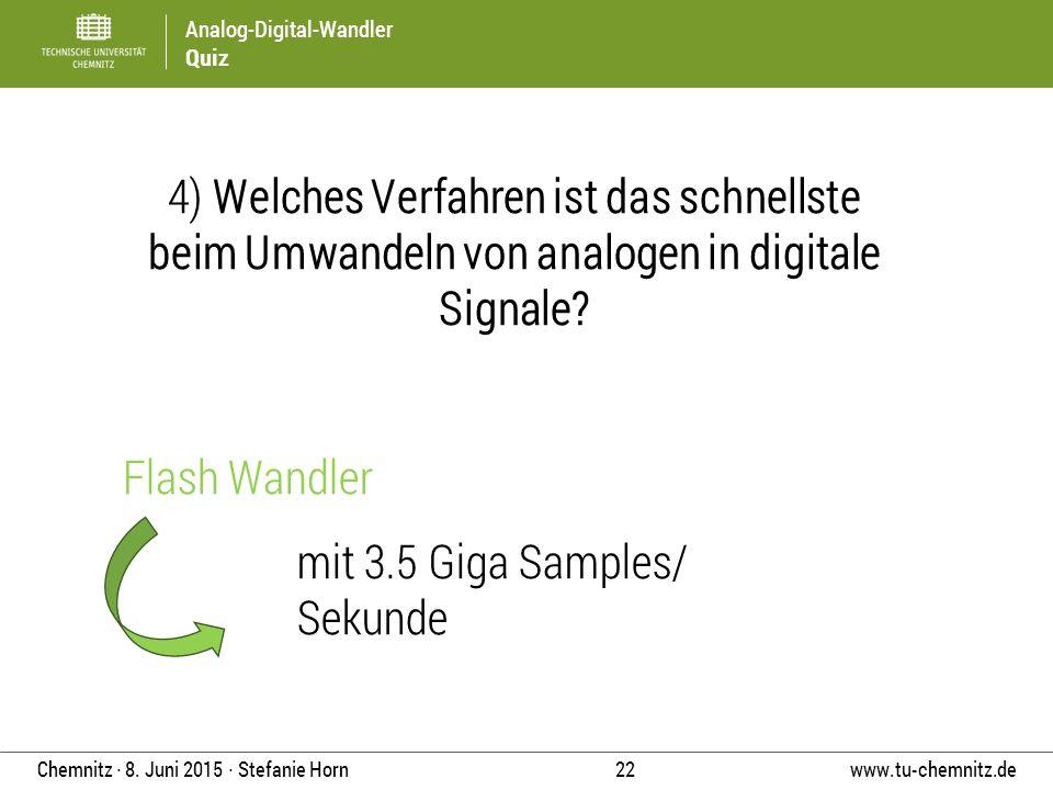Analog-Digital-Wandler Quiz www.tu-chemnitz.de 22 Chemnitz ∙ 8. Juni 2015 ∙ Stefanie Horn 4) Welches Verfahren ist das schnellste beim Umwandeln von a