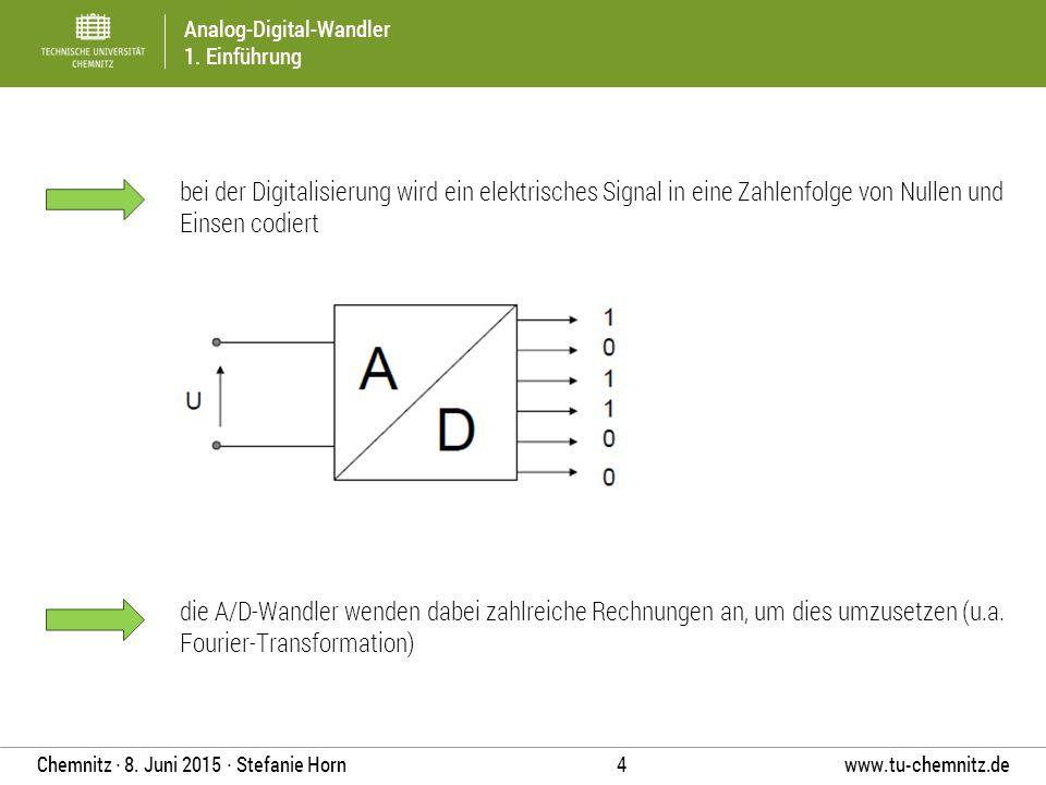 Analog-Digital-Wandler 1. Einführung www.tu-chemnitz.de 4 Chemnitz ∙ 8. Juni 2015 ∙ Stefanie Horn bei der Digitalisierung wird ein elektrisches Signal
