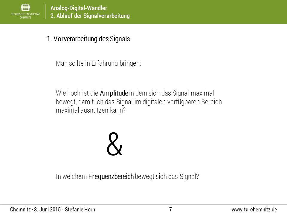 Analog-Digital-Wandler 2. Ablauf der Signalverarbeitung www.tu-chemnitz.de 7 Chemnitz ∙ 8. Juni 2015 ∙ Stefanie Horn 1. Vorverarbeitung des Signals Wi